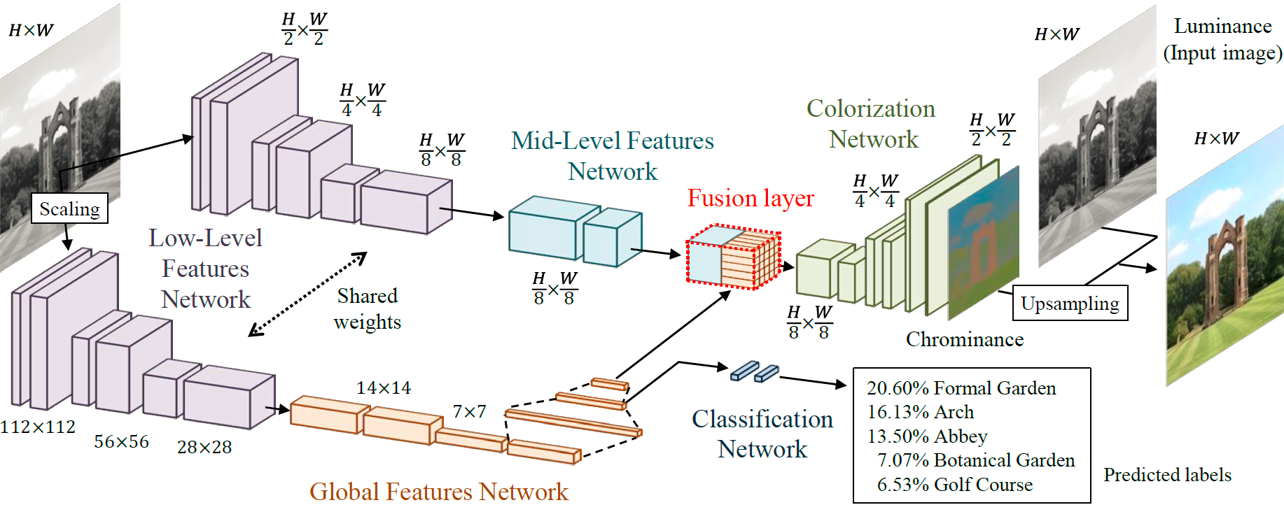Let there be Color!: Joint End-to-end Learning of Global   and Local Image Priors for Automatic Image Colorization with   Simultaneous Classification